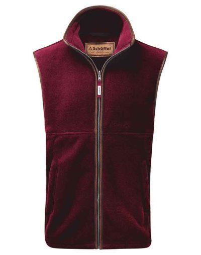 Oakham-Fleece-Gilet---Burgundy