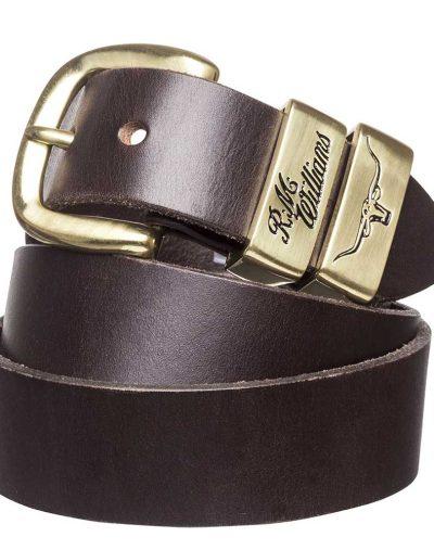 R M Williams Solid Hide Belt Gold