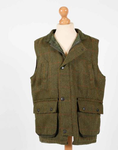 fox bay kids green tweed gilet